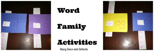 Word Family Activities Collage